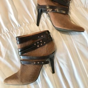 Two Tone Brown Wrap Around Detail Ankle Booties